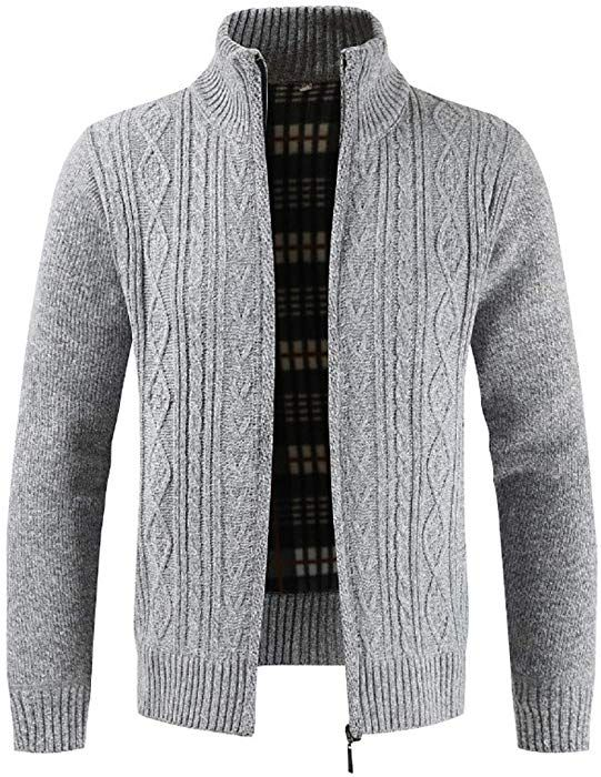 97f77c035f iLXHD Men s Casual Slim Full Zip Thick Knitted Cardigan Sweaters(Gray