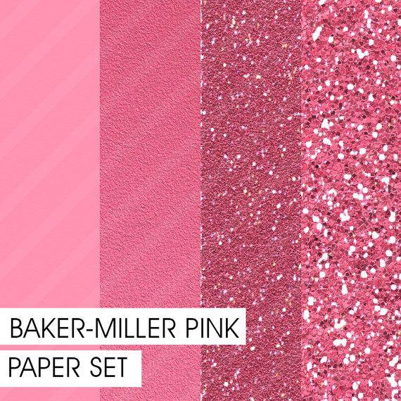 Glitter&Plain PAPER set Baker-Miller Pink by Fashiontelligent