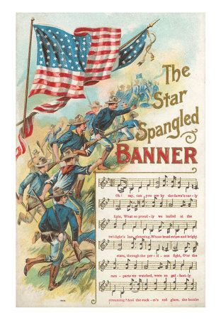 """Reproduction of a vintage print with the music to """"The Star Spangled Banner."""" Francis Scott Key wrote the words, and set them to a popular tune, composer John Stafford Smith's """"To Anacreon in Heaven."""" Prints are available at: http://www.allposters.com/-sp/Music-to-Star-Spangled-Banner-Posters_i900980_.htm?aid=807009856=2=1=7"""