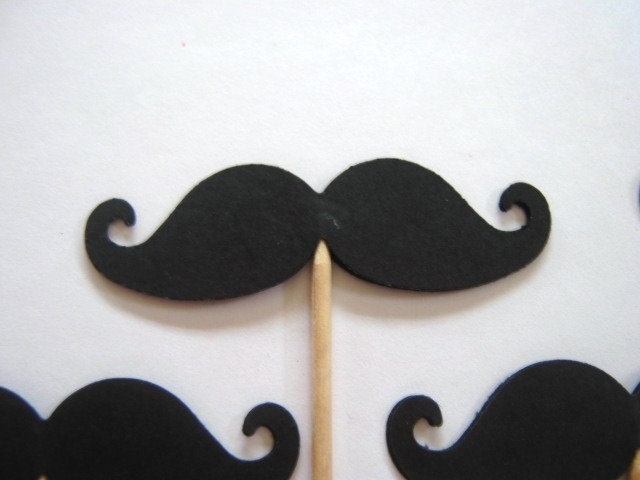 24 Black Mustache Party Picks Food Cupcake Toppers Favor 399 Via Etsy