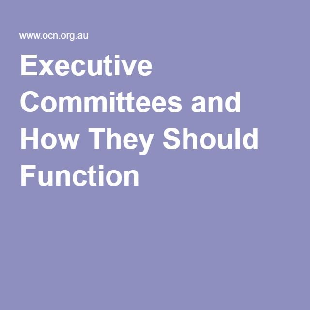 Executive Committees and How They Should Function