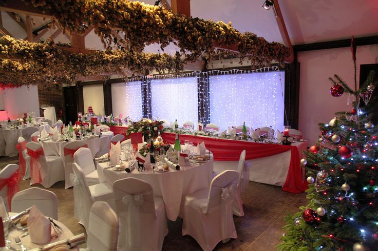 A christmas wedding breakfast set up.