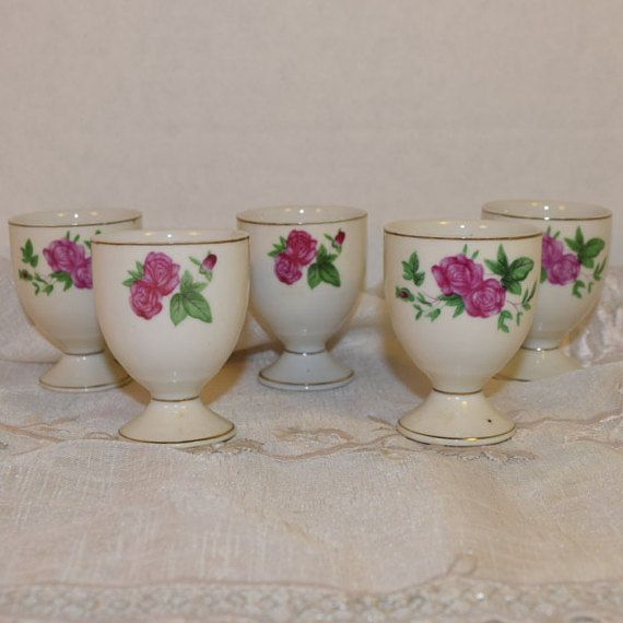 Pink Rose Egg Cups 5 Vintage Dark Pink by ShellysSelectSalvage