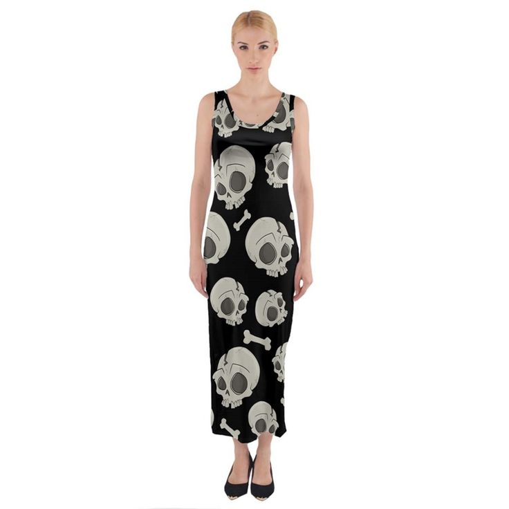 Halloween skull pattern fitted maxi dress cowcow