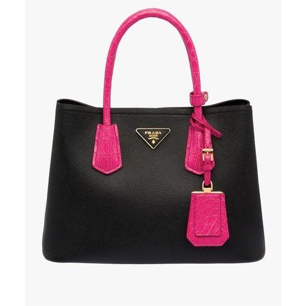 Prada Prada Double Saffiano Leather Bag ($4,240) ❤ liked on Polyvore featuring bags, handbags, shoulder bags, fuchsia, satchels, satchel handbags, flap purse, real leather purses, prada purses and prada satchel