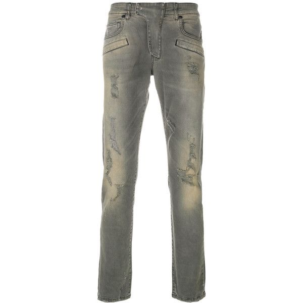 Pierre Balmain distressed jeans (860 CAD) ❤ liked on Polyvore featuring men's fashion, men's clothing, men's jeans, grey, mens destroyed jeans, mens grey jeans, mens torn jeans, mens grey ripped jeans and mens ripped jeans