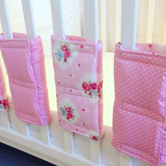 Cot Bar Bumpers and Cot Rail Bumper / Teething Guard - Shabby Chic Roses - Cot Bedding, Nursery Decor - Pink Blue Green or Yellow