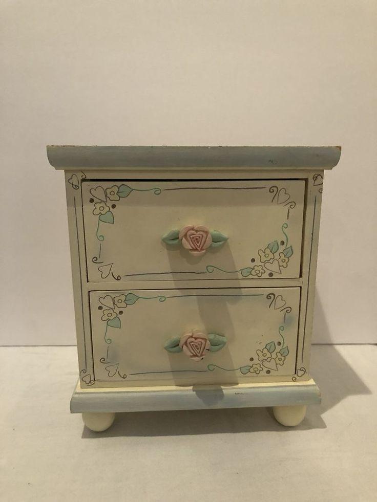 Vintage Yellow Wood 2 Drawer Floral Jewelry Box / Girls Room Decor  | eBay