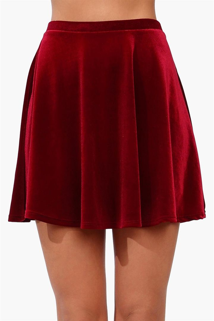 Velvet Skater Skirt in Wine