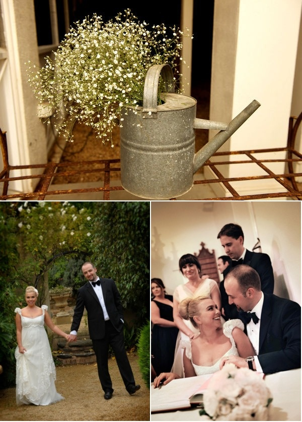 LOVE the watering can used as a vase.