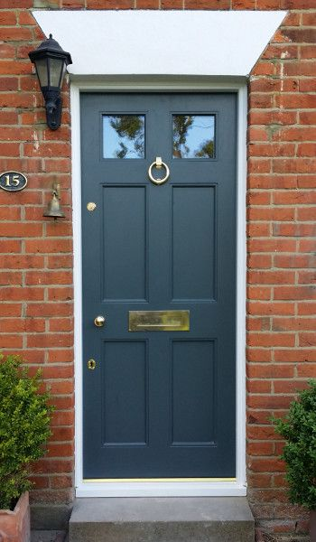 Georgian 6 Panel Door with polished brass hardware  . www.thehampshiredoorcompany.co.uk