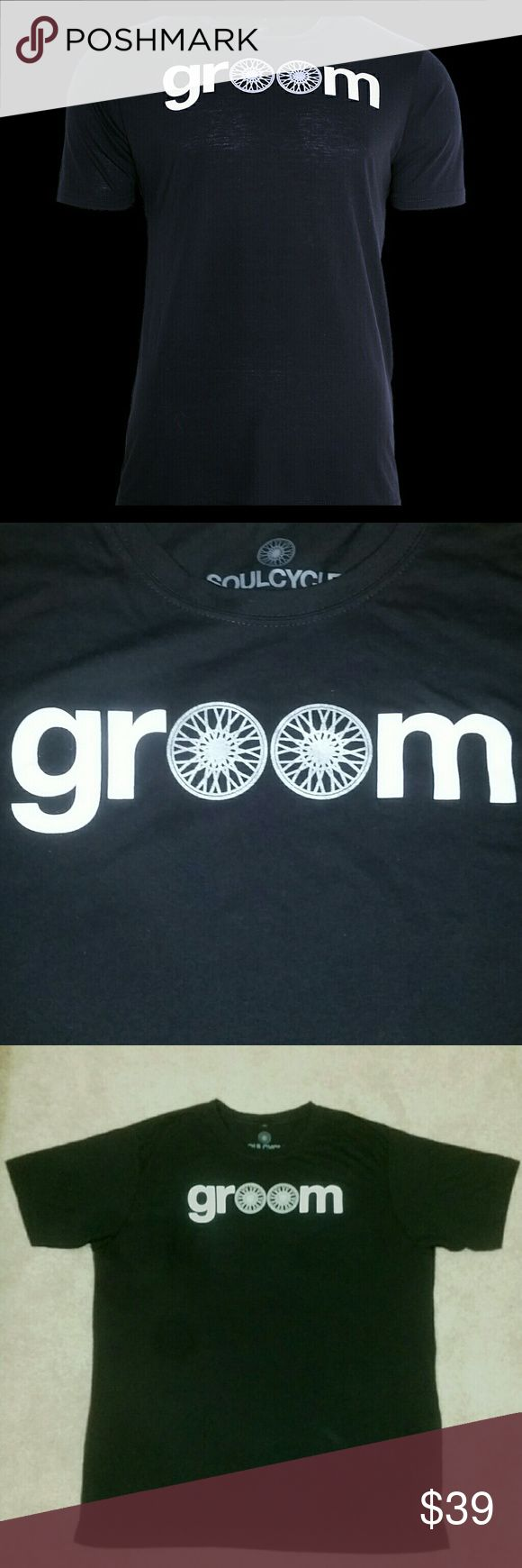 "🆕 🛍NWT🛍 SoulCycle Groom Tee Must-have for any SoulCycle Bachelor. NWT black t-shirt that my husband never got to wear! ""Groom"" screenprint with shimmery silver (like a wedding ring) wheel detail. Size XXL. Check out my separate listings for the bride tank and the Mr. and Mrs. SoulCycle Bundle. soulcycle Shirts Tees - Short Sleeve"