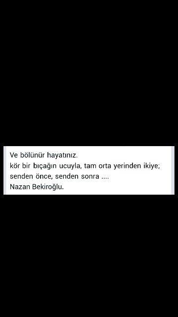 Ve bölünür hayatınız ... Nazan Bekiroğlu