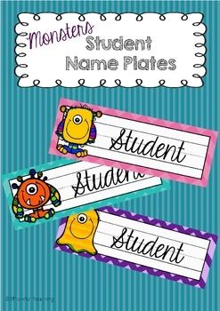 Name Plates:Monster themed name plates that look cute and brighten your classroom. When used on desks, these name plates are a great reminder of correct letter formation and left to right directionality. These name plates look great and my students loved them!