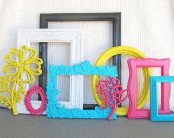 bright frames for Wonderland party.... Or you can just use them to decorate like in my room