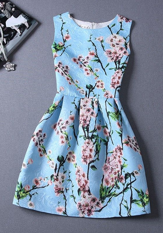 Blue Floral Pleated Sleeveless Fashion Dress