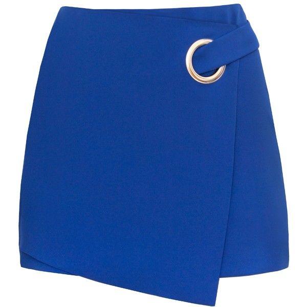 Cobalt Blue Ring Mini Skirt (115 CAD) ❤ liked on Polyvore featuring skirts, mini skirts, short mini skirts, mini skirt, blue mini skirt, short blue skirt and short skirts