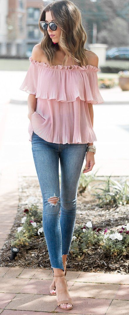 #spring #outfits Pink Off Shoulder Blouse & Ripped Skinny Jeans & Nude Sandals