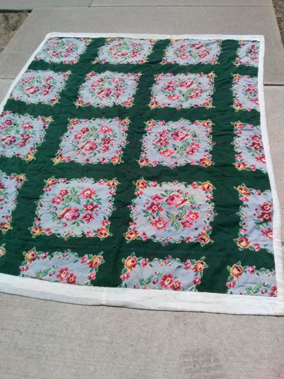 Vintage 1930s Patchwork Quilt Small Throw 57 x 71 by bycinbyhand
