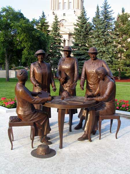 "Famous Five Monument - Five Alberta women fought to have Canadian women recognized constitutionally as ""persons"" who were eligible to be named to the Senate. Emily Murphy led the battle  supported by Irene Parlby, Louise McKinney, Henrietta Muir Edwards and Nellie Mcclung. The Supreme Court of Canada rejected their case in 1928 but the Judicial Committee of the British Privy Council decided in favour of the women on October 18, 1929. These courageous ladies came to be known as the ""Famous…"