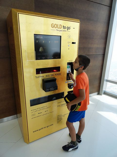 Gold bars dispensing ATM machine on top of Burj Khalifa, Dubai, United Arab Emirates.     The best way to buy Real Gold for below wholesale. http://thegoldvideo.com/?a_aid=4f20374b564b4