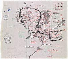 mapa terra média tolkien anotações