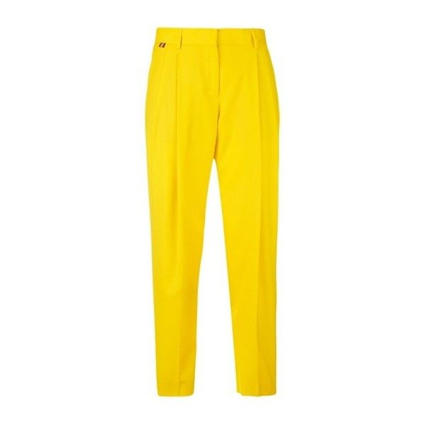 PAUL SMITH Wool Capri Pants ($375) ❤ liked on Polyvore featuring pants, capris, trousers, yellow, yellow pants, wool pants, capri trousers, wool trousers and woolen pants