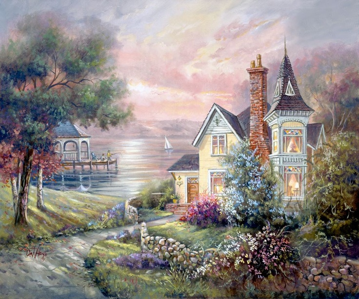 """""""Home is where the heart can laugh without shyness.  Home is where the heart's tears can dry at their own pace."""" ~Vernon Baker      Artist: Carl Valente https://www.facebook.com"""