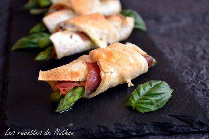 Croissants de tacos aux asperges, jambon cru et pesto