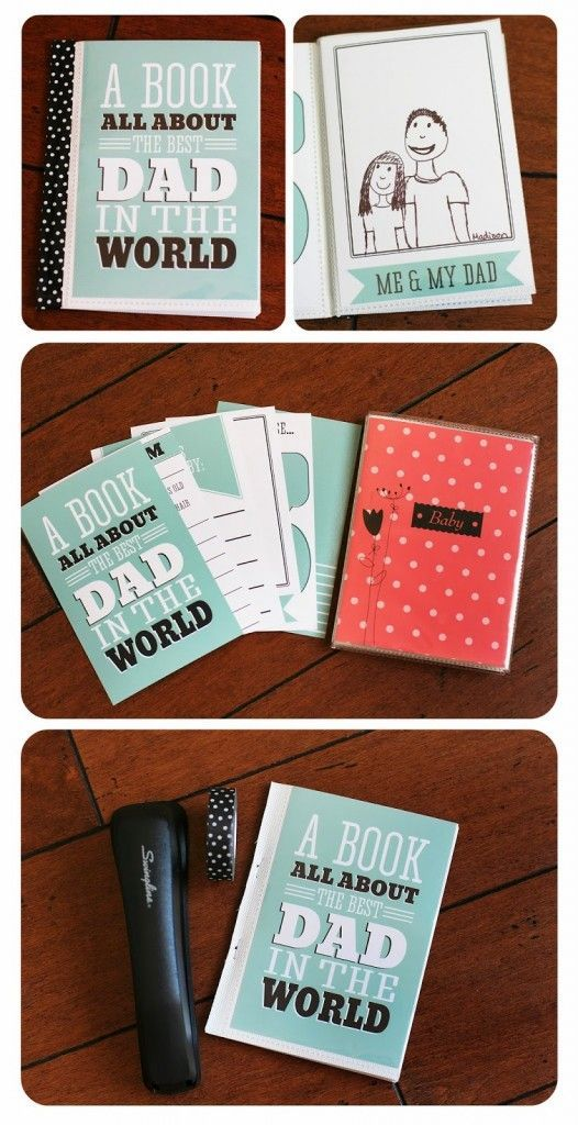 Father's Day is right around the corner… this year make a special keepsake for Dad that is sure to touch his heart. a book all about him written by those that love him the most! SUPPLIES • cheap 4×6 photo book (found ours at Michaels) • washi tape, ribbon or patterned paper • 4×6 dad book pages …