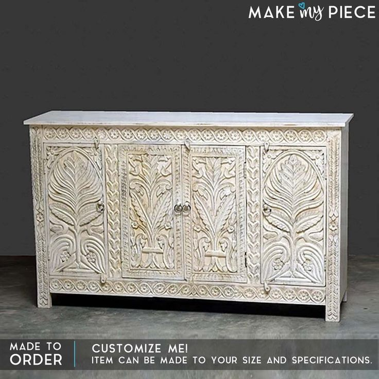 MADE TO ORDER Floral Carved Solid wood Sideboard Buffet Hutch Console White 1.6M