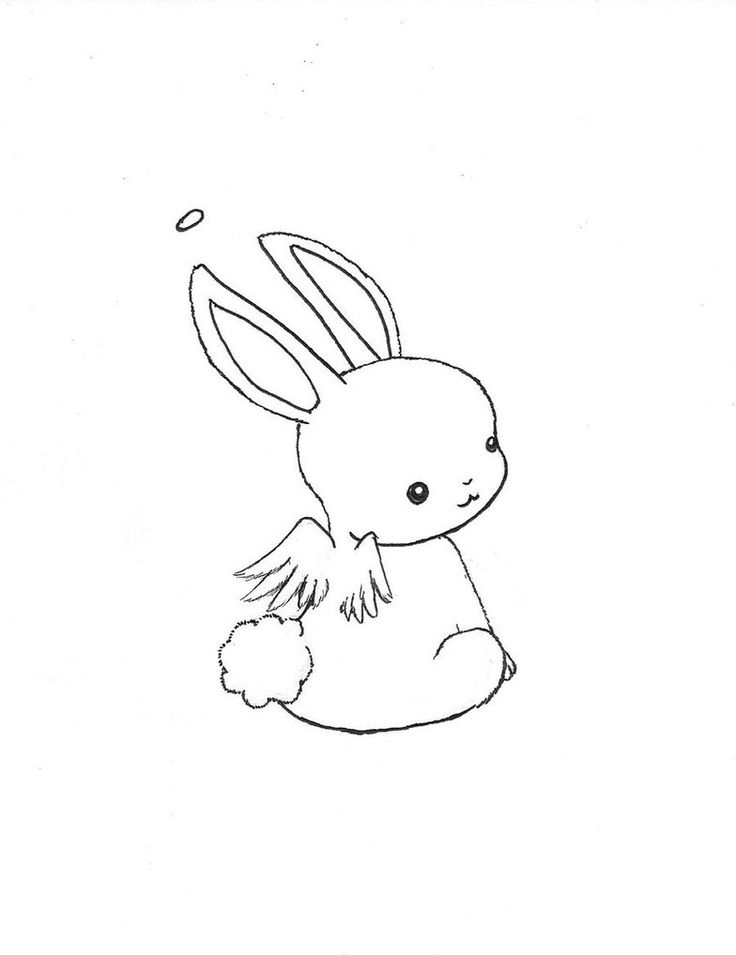 Милый зайчик картинка карандашом