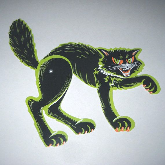 Vintage 1960s Die Cut and Jointed Halloween by grandmothersattic, $9.95