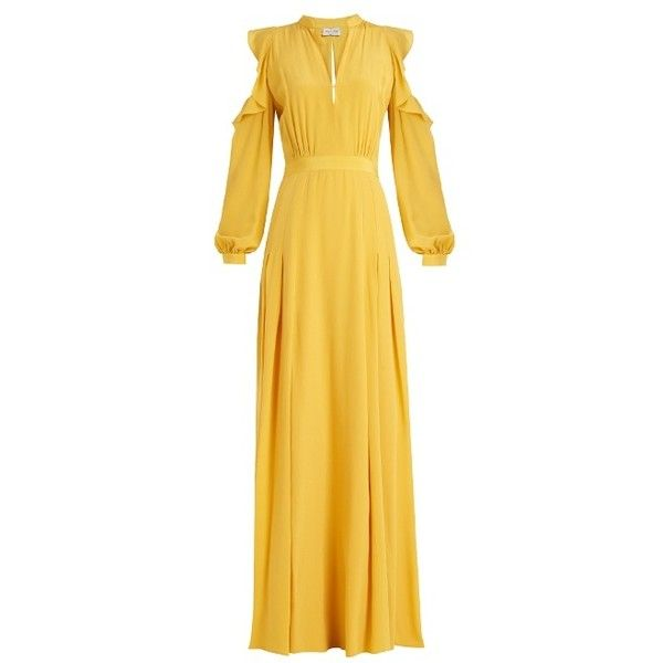 Raquel Diniz Ava cut-out shoulder silk crepe de Chine gown ($1,090) ❤ liked on Polyvore featuring dresses, gowns, yellow, silk evening gowns, ruching dress, polka dot dress, yellow dress and yellow polka dot dress