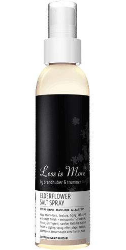 #elderflowersaltspray. #certified #organic. #lessismore. texturizing and moisture-rich styling spray  to create tousled beach-waves, structure  & soft hold, sassy volume & body with a matt  finish. ideal preparation for updos and braids, particularly for fine and straight hair.  color-save
