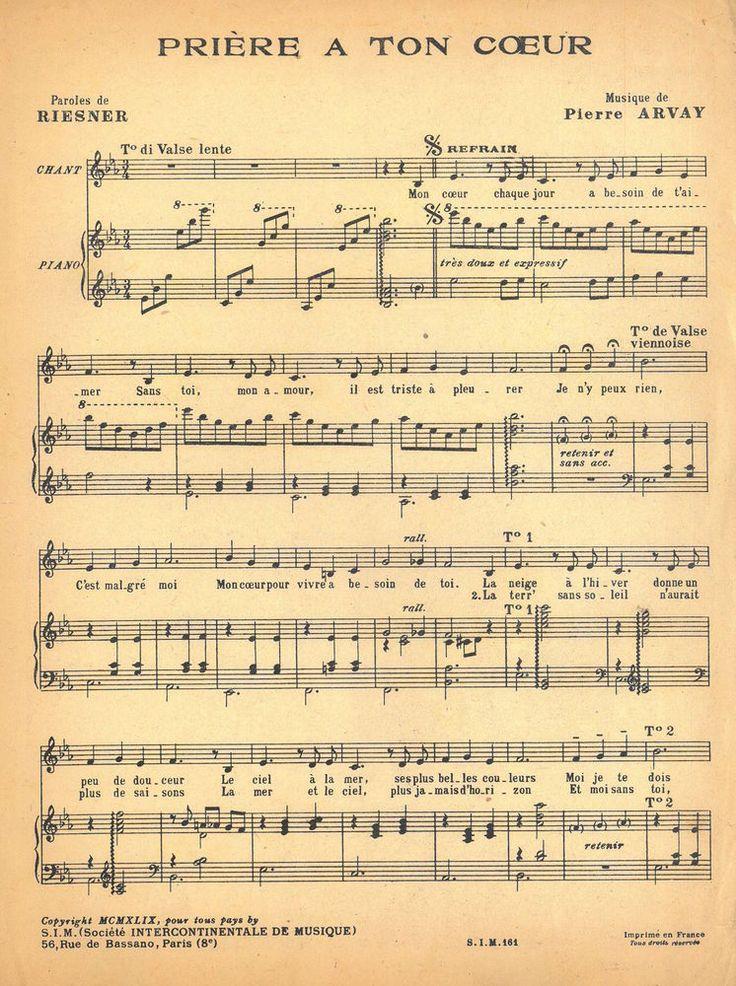 PIERRE ARVAY - PRIÈRE A TON COUER - 1959 - LANGSAMER WALZER - ORIGINAL MUSIKNOTE