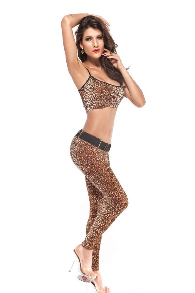 Sexy Leopard/Cheetah Print Legging/Crop Top Set ...