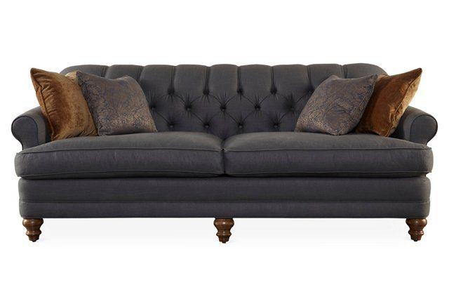 "Donovan 83"" Tufted Sleeper Sofa, Slate"