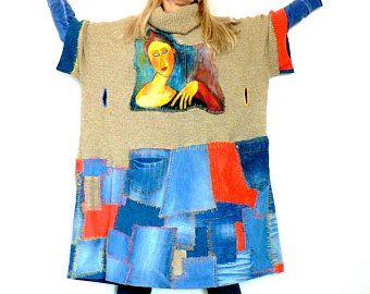 L-XXXL Fantasy recykled pachtwork by hand paint girl Modigliani hippie boho tunik dress.