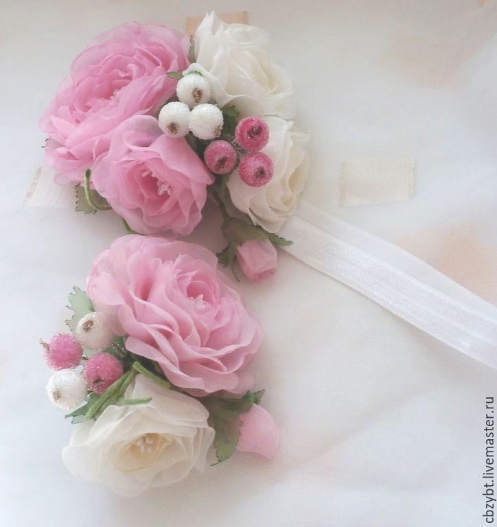 """Купить Повязка для волос и брошка """"Цветущий шиповник"""" - розовый, повязка на голову, повязка для волос"""