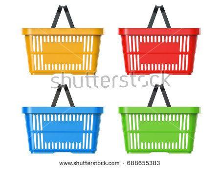 Plastic Basket Set, 3d llustration, 3D render, isolated on white background