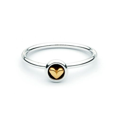 Golden Heart Two Tone Stackable Ring