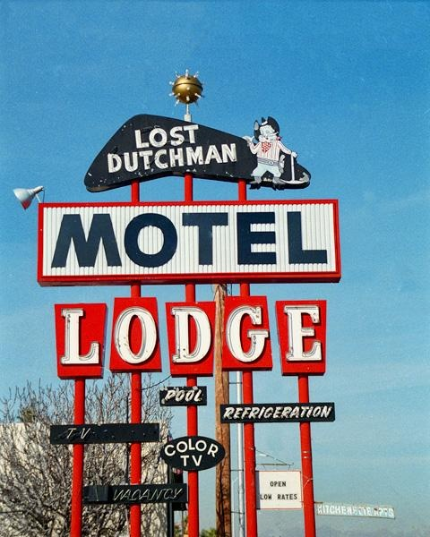 This delightful 1950s sign serves as a reminder of the LOST DUTCHMAN MINE. This old motel/lodge is believed to be located in the Phoenix area.