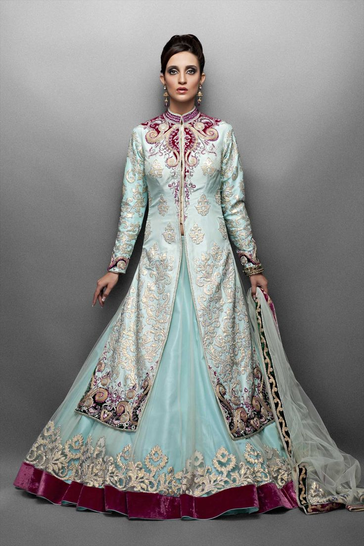 Aqua Net Lehenga Paired with Silk Jacket-Front