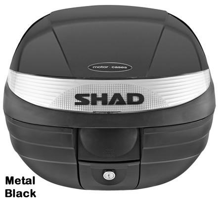 "Shad SH-29 motorcycle top case in metal black. Designed to attach to most flat luggage racks. Its dimensions are: 14.9"" L x 15.7"" W x 11.8"" H   and has a 29 liter capacity. Your price is $125.95. With Free Shipping."