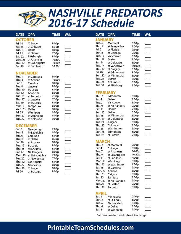 Nashville Predators Hockey Schedule 2016- 2017 Print Here - http://printableteamschedules.com/NHL/nashvillepredatorsschedule.php