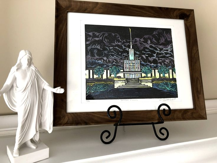 Christmas, LDS, Mormon, temple, 8x10, original art, print, gold, black, Mormon art