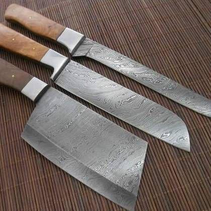 Custom Made Damascus kitchen Knives set