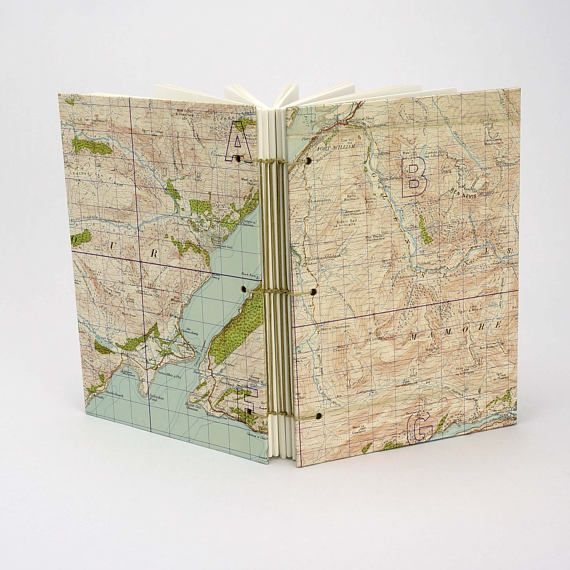 Map Journal Reclaimed Map Notebook Travel Journal Scottish