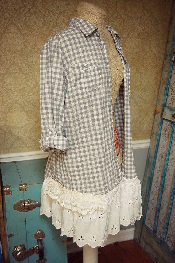 Extra Large Boho Shirt Oversized Shabby Chic by PrimitiveFringe